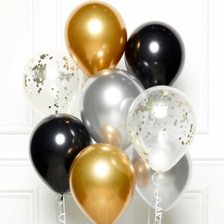 BLACK/GOLD/SILVER BALLOON KIT