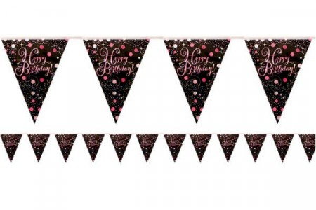 PINK SPARKLING CELEBRATION BANNER FLAGG