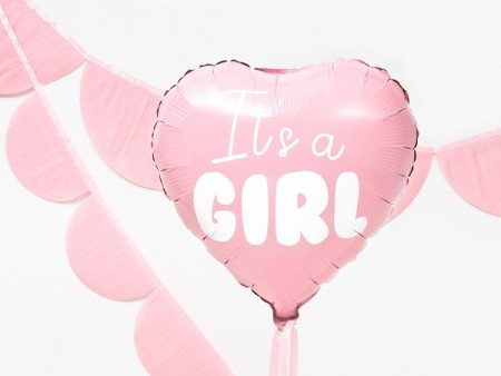 IT'S A GIRL HJERTEFORMET FOLIEBALLONG