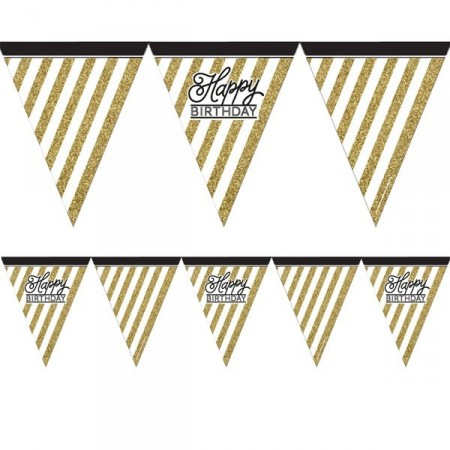 BLACK AND GOLD GLITTER BANNER FLAGG