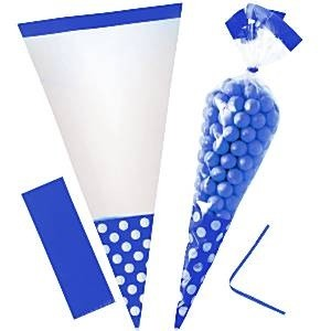 ROYAL BLÅ POLKA DOT CELLOFAN GODTEPOSER (10-pk)