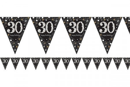 GOLD SPARKLING CELEBRATION BANNER FLAGG 30
