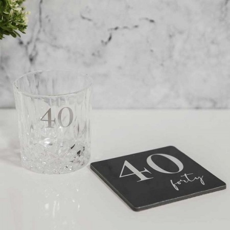 LUXE WHISKY GLASS & COASTER 40