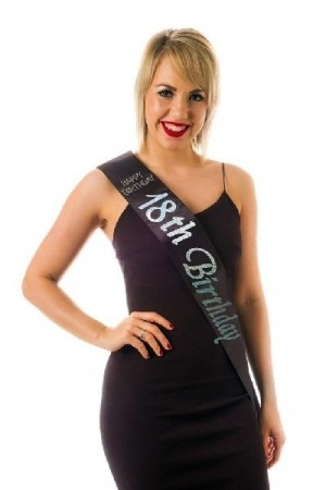18th BIRTHDAY SASH - SVART