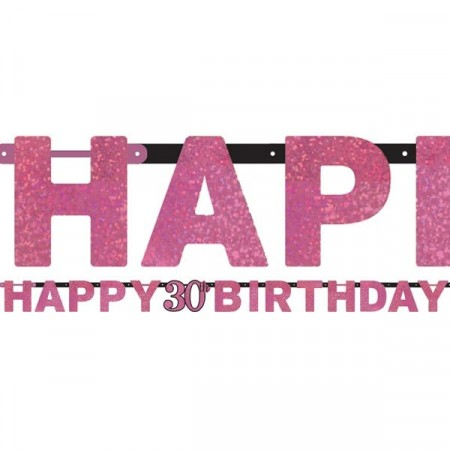 PINK SPARKLING CELEBRATION HAPPY 30th BIRTHDAY BANNER