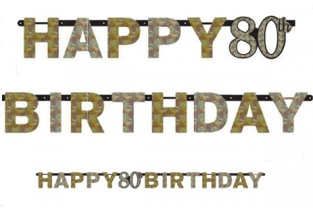 GOLD SPARKLING CELEBRATION HAPPY 80th BIRTHDAY BANNER