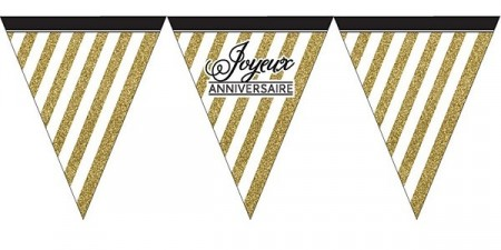 BLACK AND GOLD GLITTER BANNER FLAGG - JOYEUX ANNIVERSAIRE