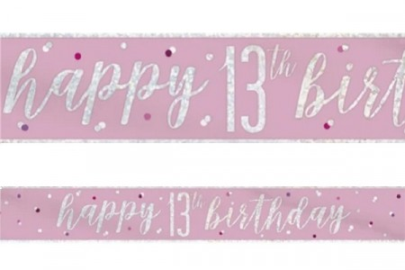 PINK GLITZ HAPPY BIRTHDAY BANNER 13