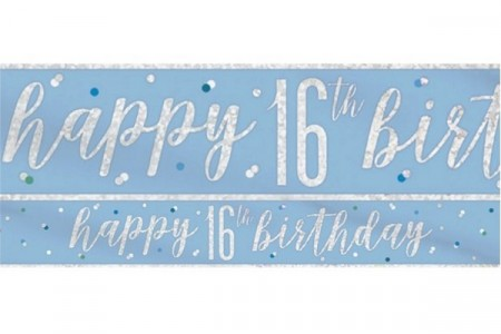 BLUE GLITZ HAPPY BIRTHDAY BANNER 16