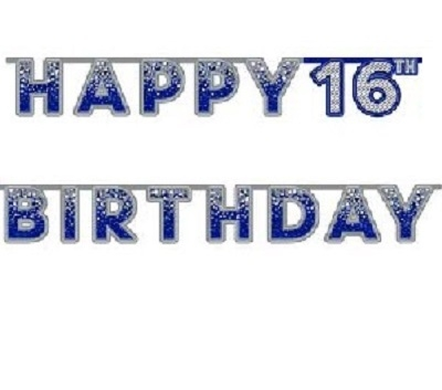 BLÅGLITRENDE HAPPY BIRTHDAY BANNER 16