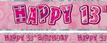 PINK DAZZLING HAPPY 13th BANNER