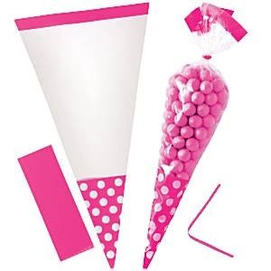 ROSA POLKA DOT CELLOFAN GODTEPOSER (10-pk)