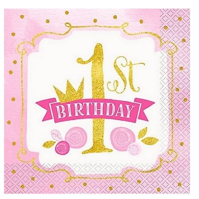 PINK & GOLD 1st BIRTHDAY SERVIETTER