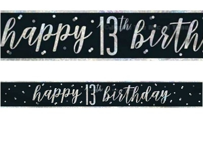 BLACK GLITZ HAPPY BIRTHDAY BANNER 13