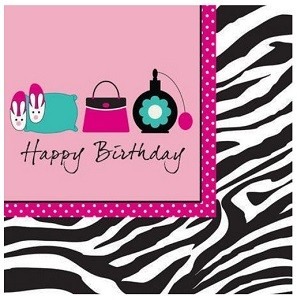 PINK ZEBRA HAPPY BIRTHDAY SERVIETTER