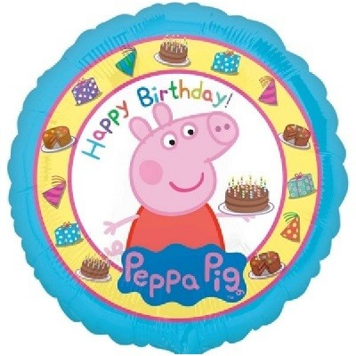PEPPA GRIS HAPPY BIRTHDAY FOLIEBALLONG