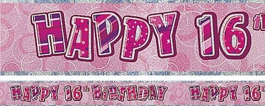 PINK DAZZLING HAPPY 16th BANNER