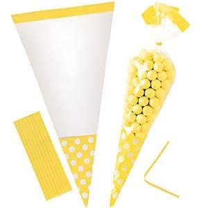 GULE POLKA DOT CELLOFAN GODTEPOSER (10-pk)