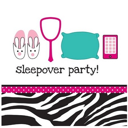 PINK ZEBRA SLEEPOVER PARTY SERVIETTER