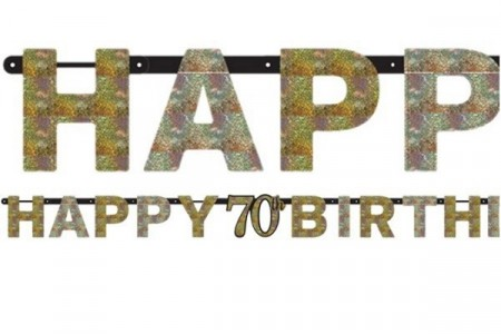 GOLD SPARKLING CELEBRATION HAPPY 70th BIRTHDAY BANNER