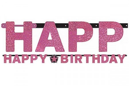 PINK SPARKLING CELEBRATION HAPPY BIRTHDAY BANNER