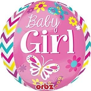 BABY GIRL ORBZ FOIL BALLOON