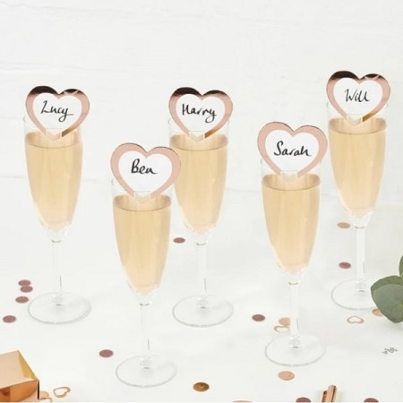 ROSE GOLD HEART BORDKORT (10-pk)