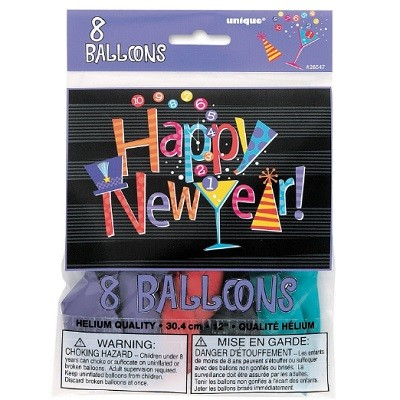 HAPPY NEW YEAR COUNTDOWN BALLONGER (8-pk)