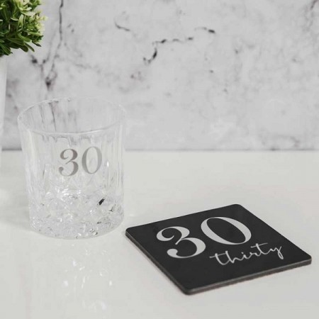 LUXE WHISKY GLASS & COASTER 30