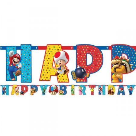 SUPER MARIO BROTHERS HAPPY BIRTHDAY BANNER KIT