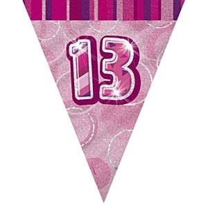 PINK DAZZLING 13 BANNER FLAGG