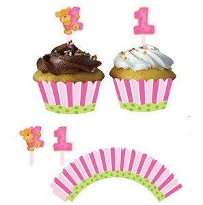 ROSA CUPCAKE WRAPPERS MED 1-ÅRS PYNT