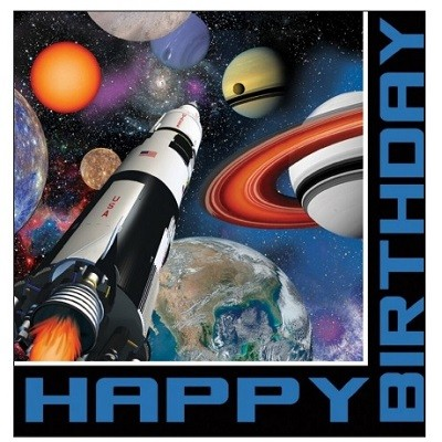 SPACE HAPPY BIRTHDAY SERVIETTER