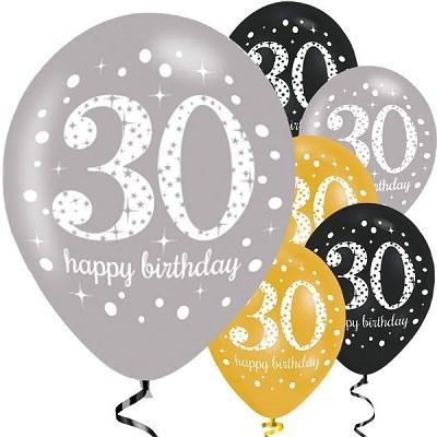 ballonger 30 år BALLONGER 30 ÅR   GULL/SØLV/SVART | FESTSTEMNING.NO ballonger 30 år