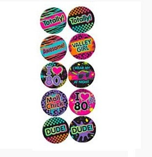 BUTTONS TIL 80-TALLS PARTY